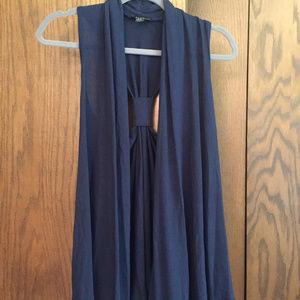 Forever 21 Navy Blue Sleeveless Cardigan